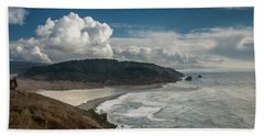 Clouds Above Coast Pano Beach Towel by Greg Nyquist