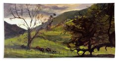 Clouds And Cattle Beach Towel
