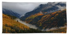 Clouds And Fog Encompass Autumn At Mcclure Pass In Colorado Beach Towel