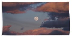 Beach Towel featuring the photograph Clouds And Moon March 2017 by Terry DeLuco