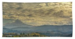 Clouds And Sun Rays Over Mount Hood And Hood River Oregon Beach Towel
