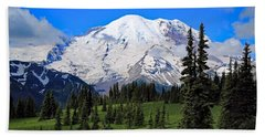 Beach Sheet featuring the photograph Clouds Clearing At Mount Rainier 2 by Lynn Hopwood