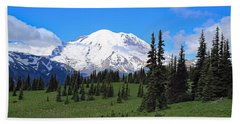 Beach Sheet featuring the photograph Clouds Clearing At Mount Rainier by Lynn Hopwood