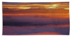 Clouds Of Fire Surround The La Sal Mountains From Dead Horse Point State Park Beach Sheet