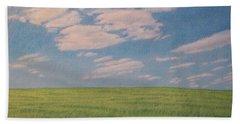Clouds Over Green Field Beach Towel