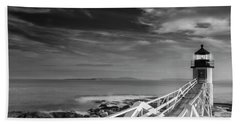 Clouds Over Marshall Point Lighthouse In Maine Beach Towel
