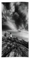 Clouds Over Pemaquid Lighthouse Beach Towel