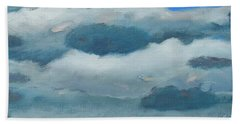 Beach Towel featuring the painting Clouds Over South Bay by Gary Coleman