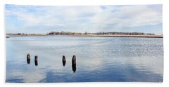 Beach Towel featuring the photograph Clouds Over The Mullica River by Colleen Kammerer