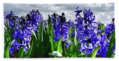Clouds Over The Purple Hyacinth Field Beach Towel by Mihaela Pater