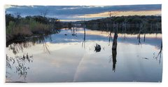 Clouds Reflecting On Large Lake During Sunset Beach Towel