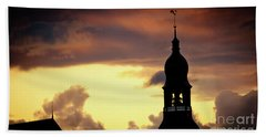 Cloudscape Of Orange Sunset Old Town Riga Latvia Beach Towel