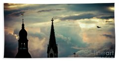 Cloudscape Sunset Old Town Riga Latvia Beach Towel