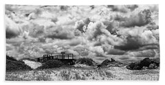 Beach Sheet featuring the photograph Cloudy Beach Black And White By Kaye Menner by Kaye Menner