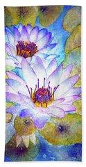 Cloudy Blue Lilies Beach Sheet