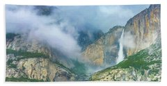 Cloudy Day At Yosemite Falls Digital Watercolor Beach Towel