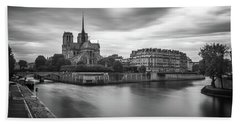 Cloudy Day On The Seine Beach Towel