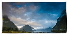 Cloudy Morning At Milford Sound At Sunrise Beach Towel