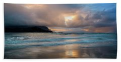 Cloudy Sunset At Hanalei Bay Beach Sheet