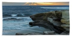Cloudy Sunset At La Jolla Shores Beach Beach Towel
