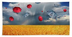 Cloudy With A Chance Of Umbrellas Beach Towel