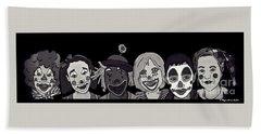 Beach Towel featuring the digital art Clown Alley Black Lavender by Megan Dirsa-DuBois