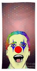 Beach Sheet featuring the drawing clown Christian Bale by Jason Tricktop Matthews