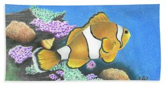 Beach Sheet featuring the drawing Clownfish by Troy Levesque