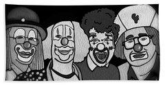 Beach Towel featuring the digital art Clowns Bw by Megan Dirsa-DuBois