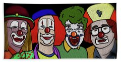 Beach Towel featuring the digital art Clowns by Megan Dirsa-DuBois