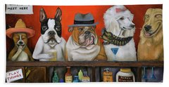 Beach Towel featuring the painting Club K9 by Leah Saulnier The Painting Maniac