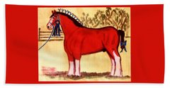 Clydesdale Horse Blue Ribbon Stallion Beach Towel