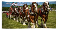Budweiser Clydesdale Horses Beach Towel