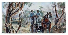 Clydesdales And Cart Beach Towel