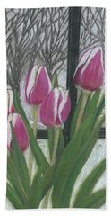 Beach Towel featuring the drawing C'mon Spring by Arlene Crafton