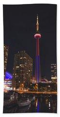 Cn Tower Toronto From Marina At Night Beach Sheet