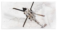 Beach Towel featuring the photograph Coast Guard Helicopter by Aaron Berg