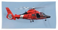 Beach Towel featuring the photograph Coast Guard Helicopter by Jimmie Bartlett