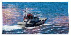 Aaron Berg Photography Beach Towel featuring the photograph Coast Guard Out To Sea by Aaron Berg