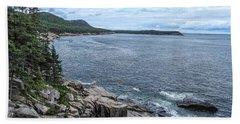 Coastal Landscape From Ocean Path Trail, Acadia National Park Beach Towel