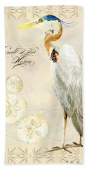 Coastal Waterways - Great Blue Heron Beach Towel by Audrey Jeanne Roberts