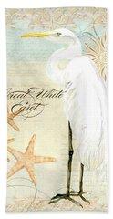 Coastal Waterways - Great White Egret 3 Beach Sheet by Audrey Jeanne Roberts