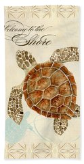 Coastal Waterways - Green Sea Turtle Beach Sheet by Audrey Jeanne Roberts