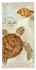 Coastal Waterways - Green Sea Turtle Rectangle 2 Beach Towel