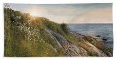 Beach Towel featuring the photograph Coastline Newport by Robin-Lee Vieira
