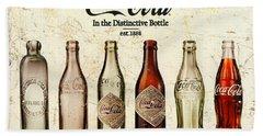 Coca-cola Bottle Evolution Vintage Sign Beach Sheet