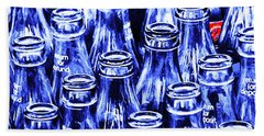 Coca-cola Coke Bottles - Return For Refund - Square - Painterly - Blue Beach Towel