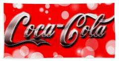 Coca Cola Electric Bokeh Beach Towel