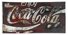 Coca Cola Grunge Sign Beach Sheet by John Stephens