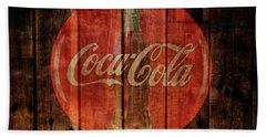 Coca Cola Old Grunge Wood Beach Towel